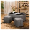 3pc Drake Fabric Tray Top Nested Storage Ottoman Bench - Christopher Knight Home - image 2 of 4