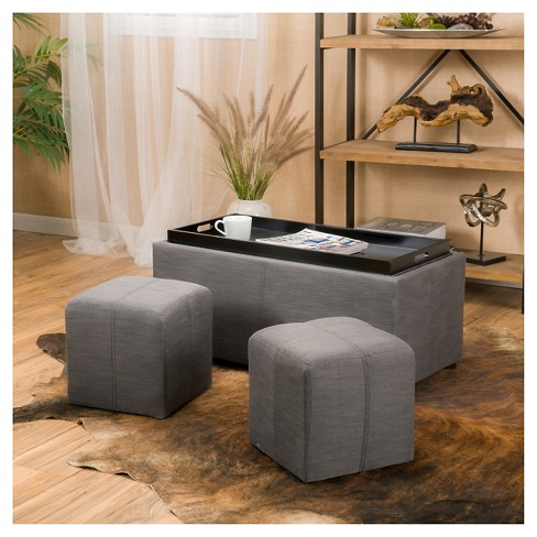 Drake 3pc Fabric Tray Top Nested Storage Ottoman Bench Christopher