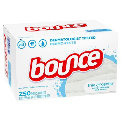 Bounce Free & Gentle Unscented Fabric Softener Dryer Sheets for Sensitive Skin - 250ct