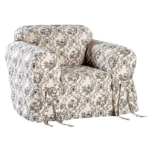 Black/Cream Toile Print Chair Sofa Slipcover