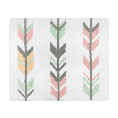 Coral & Mint Mod Arrow Floor Rug (36 x36 )-Sweet Jojo Designs