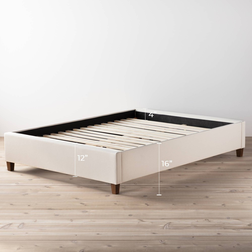 Image of California King Ava Upholstered Platform Bed with Slats Off White - Brookside