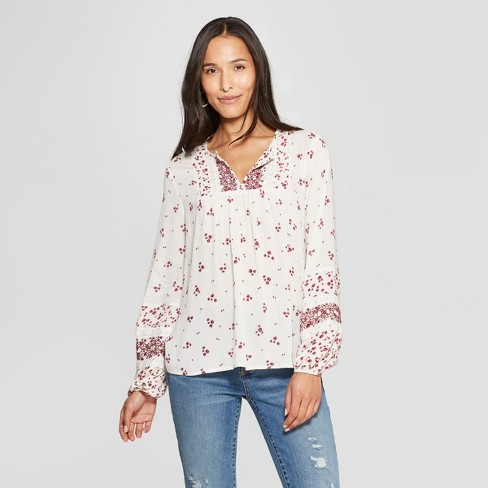 Women's Floral Print Long Sleeve V-Neck Yoke Top - Knox Rose™ White XL - image 1 of 2