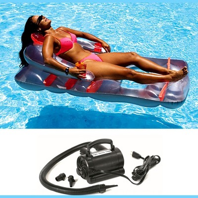 New Swimline Red Swimming Pool Inflatable Deluxe Lounge Chair w/ Electric Pump