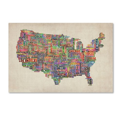 Trademark Global Michael Tompsett 'US Cities Text Map VI' Canvas Art - image 1 of 2