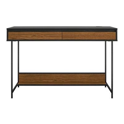 Tyner Computer Desk Black Oak - Room & Joy