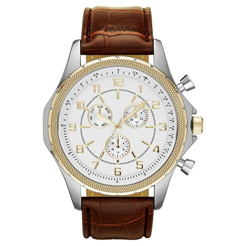 Men's Oversize Strap Watch in Brown with Gold Decorative Subdials - Mossimo™ - image 1 of 1