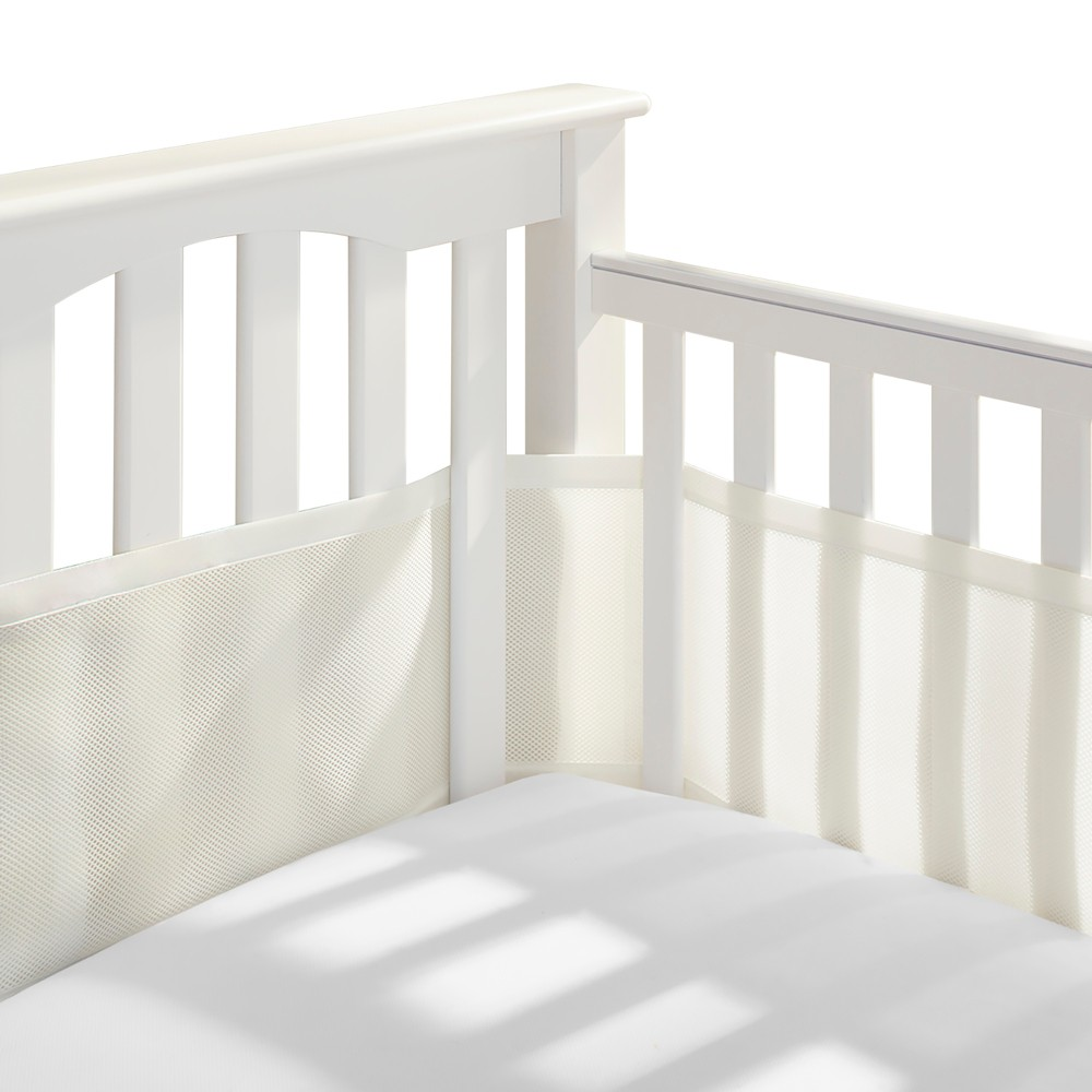 Image of Breathable Baby Solid Mesh Crib Liner - Ecru, White