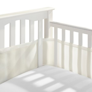 Breathable Baby Solid Mesh Crib Liner - Ecru, White