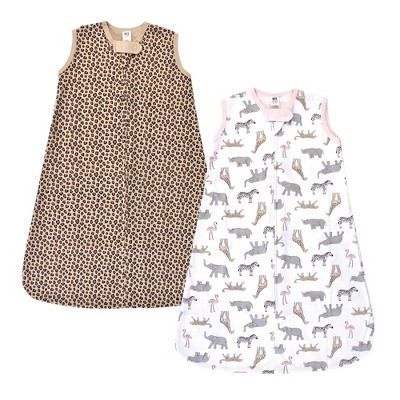 Hudson Baby Infant Girl Cotton Sleeveless Wearable Sleeping Bag, Sack, Blanket, Modern Pink Safari