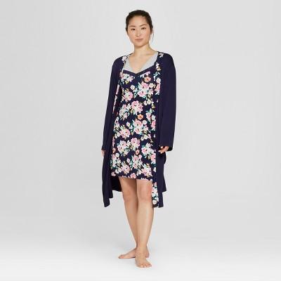 Lamaze Women's Floral Nursing Gown and Robes Pajama Set - Blue S