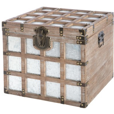 Vintiquewise Vintorary Wooden Square Galvanized Metal Lined Storage Trunk, Medium
