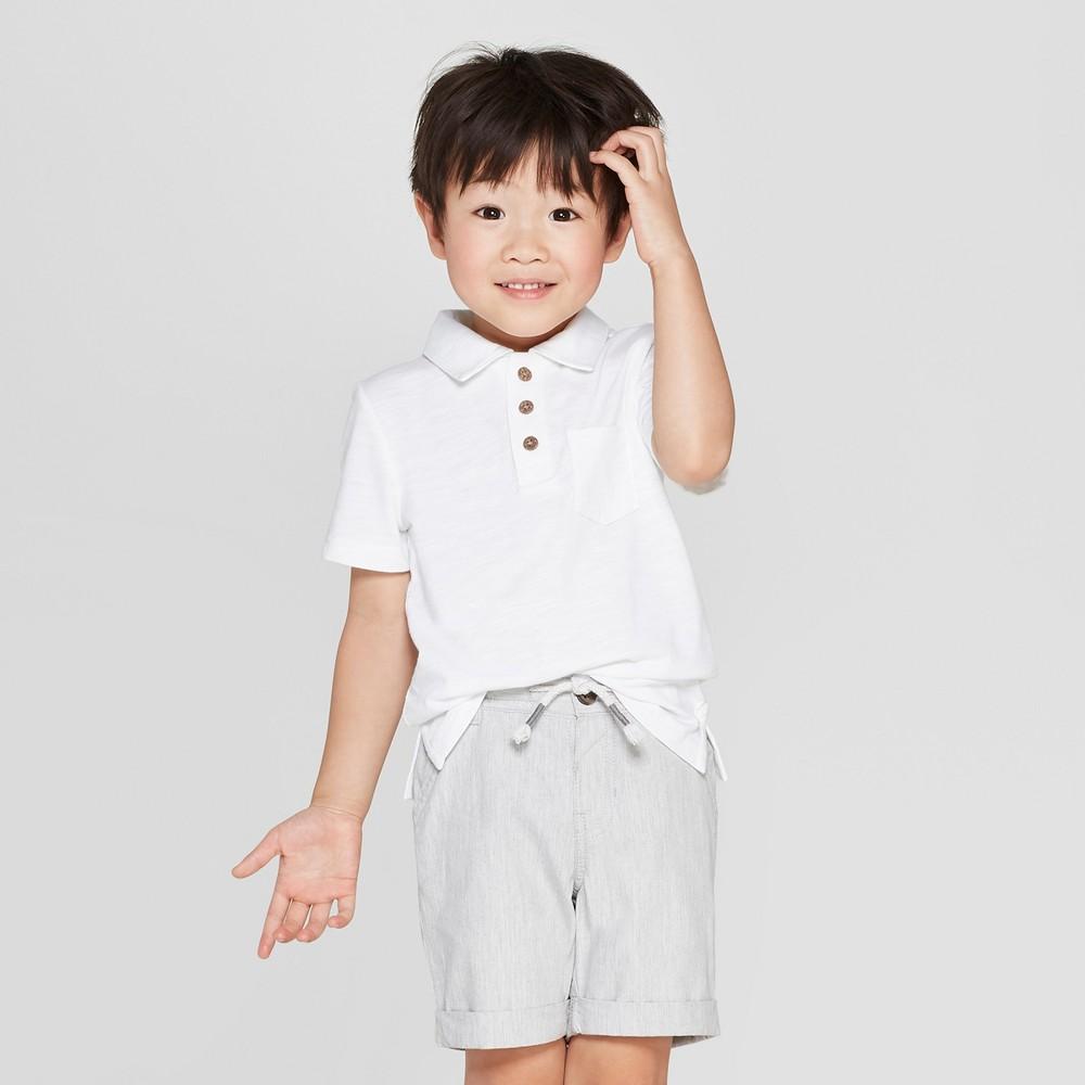 Toddler Boys' Short Sleeve Slub Jersey Polo Shirt - Cat & Jack White 18M
