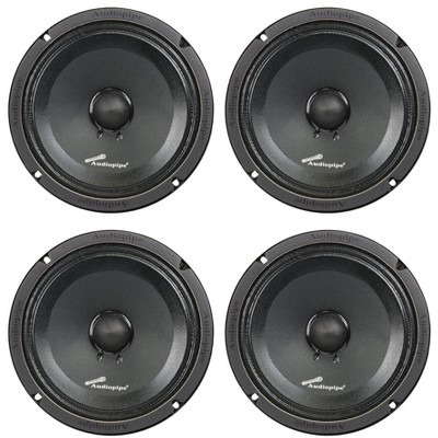 Audiopipe APMB-8SB-C 8 Inch 250 Watt MAX, 125 RMS, 8 Ohm Low/Mid Frequency Midrange Driver, Car Stereo Loudspeaker with KSV Voice Coil (4 Pack)