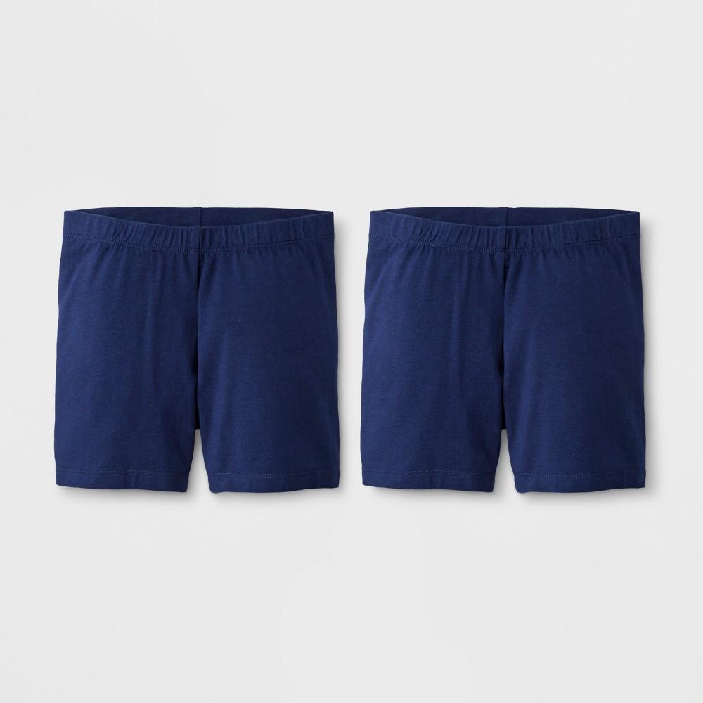 Girls' 2pk Biker Shorts - Cat & Jack Navy M, Blue