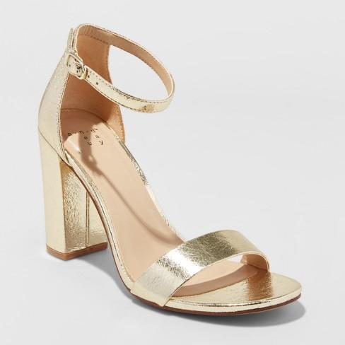599c5ac7727 Women's Ema Wide Width High Block Heel Pumps - A New Day™ Gold 12W