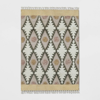 5'X7' Diamond Tufted Area Rug Cream - Opalhouse™