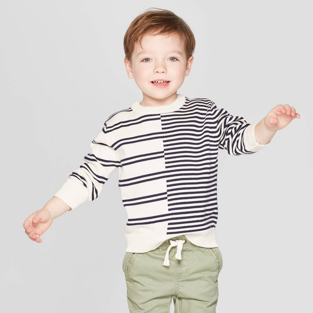 Toddler Boys' Striped Pullover Sweater - Cat & Jack Cream 4T, Beige