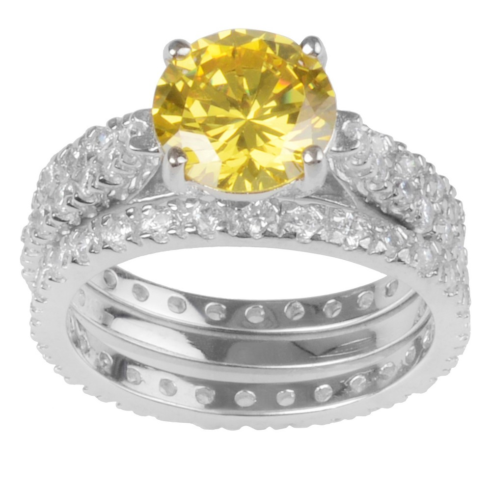 5 4/5 CT. T.W. Round-Cut CZ Basket Set Wedding Ring Set in Sterling Silver - Yellow, 5, Girl's