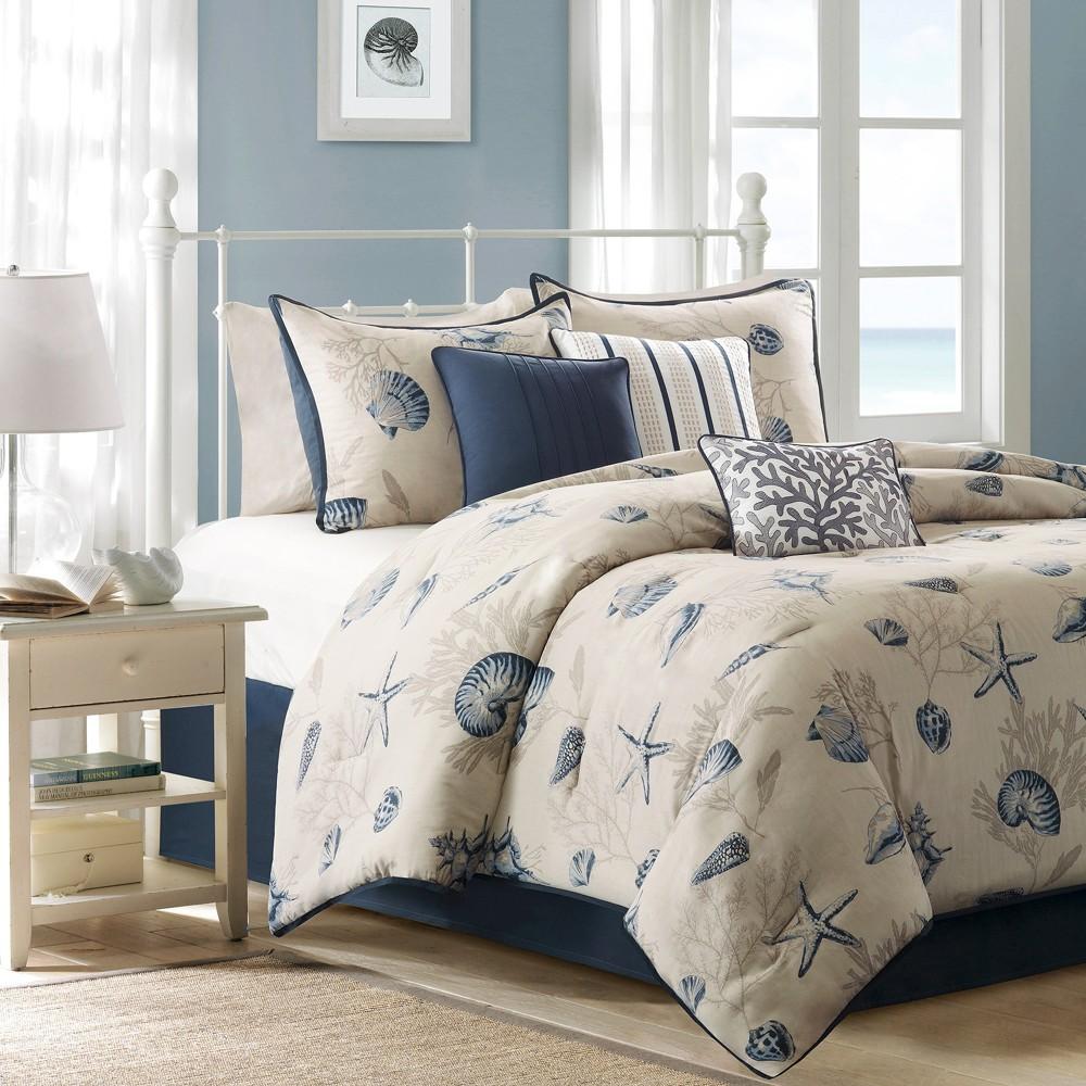 Image of Rockaway 7 Piece Cotton Printed Comforter Set - Blue (King)