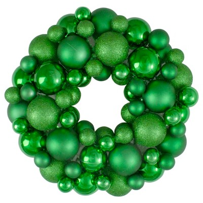 Northlight Green 3-Finish Shatterproof Ball Christmas Wreath - 13-Inch, Unlit