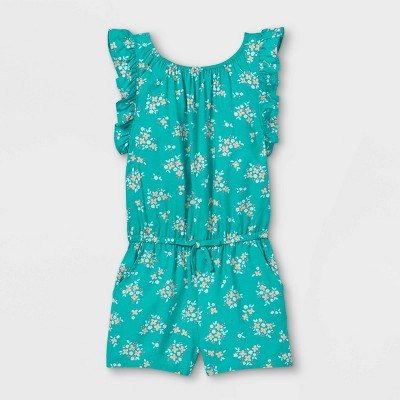 Toddler Girls' Floral Ruffle Sleeve Romper - Cat & Jack™ Teal