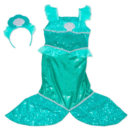 Melissa & Doug Mermaid Role Play Costume Set - Gown With Flaired Tail, Seashell Tiara, Women's image number null