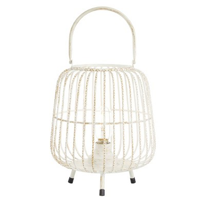 "12"" x 10"" Modern Metal Caged Candle Holder with Led Light Bulb Center White - Olivia & May"