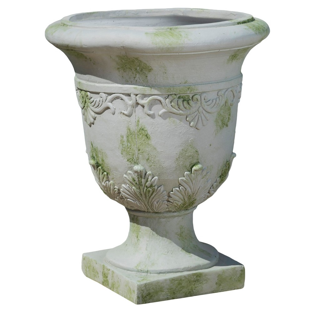 Image of 20 Urn Fiber Stone Patio Planter Moroccan - Grey - Christopher Knight Home, Gray