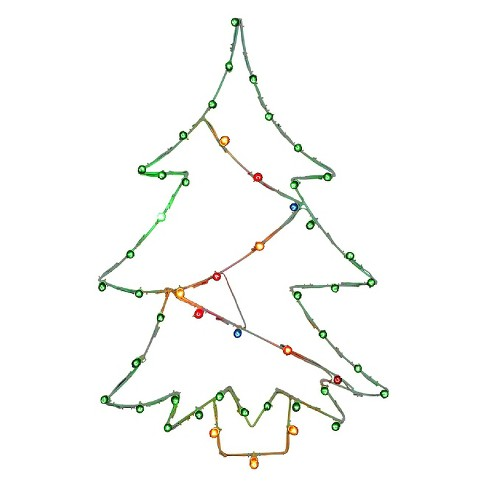 Light Up Christmas Tree Wire Motif Multicolored 48x32 Target