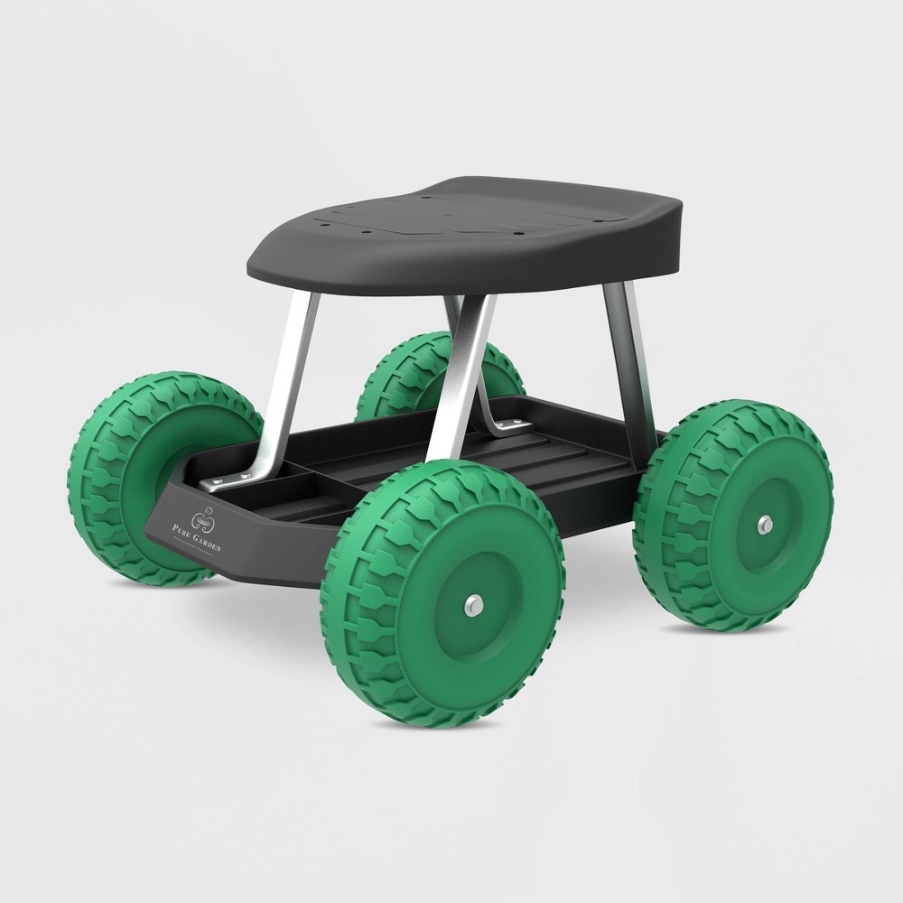 "Image of ""19"""" Steel Garden Cart Rolling Scooter Green - Pure Garden"""