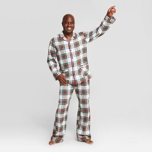 Men's Plaid Holiday Tartan Plaid Flannel Pajama Set - Wondershop™ White - image 1 of 3
