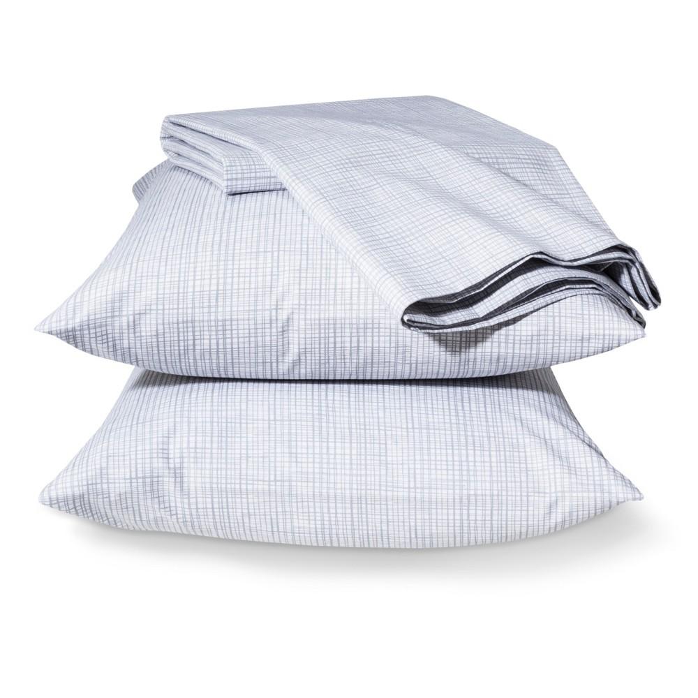 Easy Care Sheet Set Aqua Grid (Twin) - Room Essentials, Gray