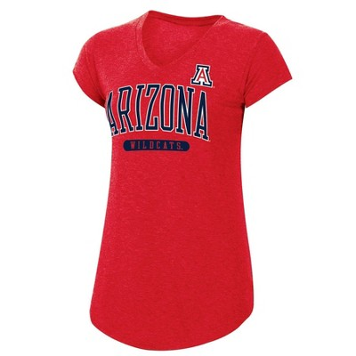 NCAA Arizona Wildcats Women's Red Short Sleeve V-Neck T-Shirt
