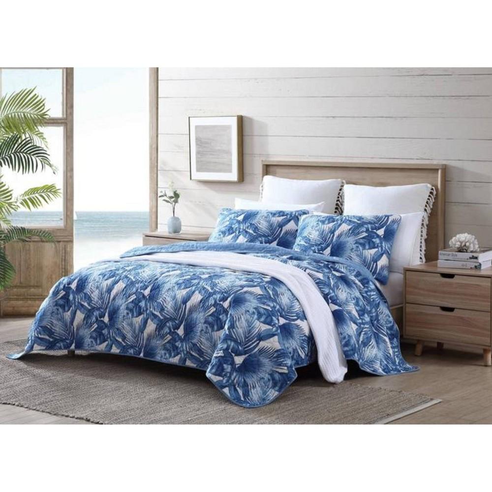 King Royal Palm Quilt 38 Sham Set Blue Tommy Bahama