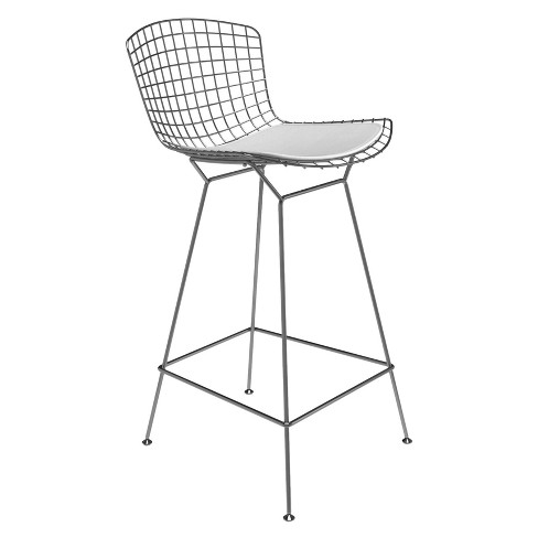 Aspen Modern Classic Wire Counter Stool Stainless Steel Finish and Leather Seat Pad - Aeon - image 1 of 1