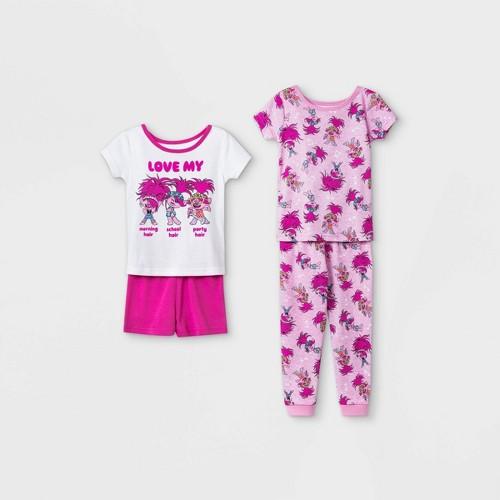 Toddler Girls 4pc 100 Cotton Trolls Snug Fit Pajama Set Whit