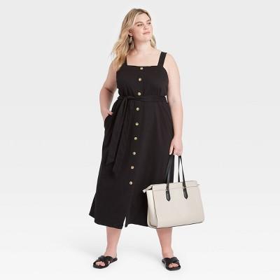 Women's Plus Size Knit Button-Front Dress - Ava & Viv™