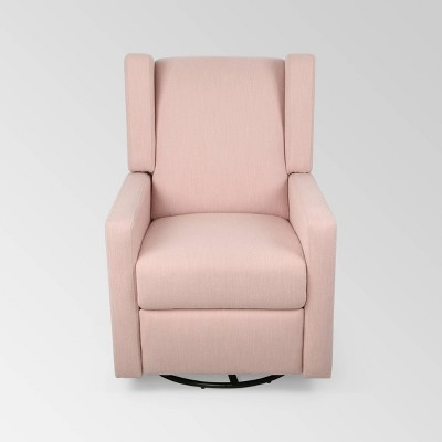 Hounker Contemporary Swivel Recliner Blush - Christopher Knight Home