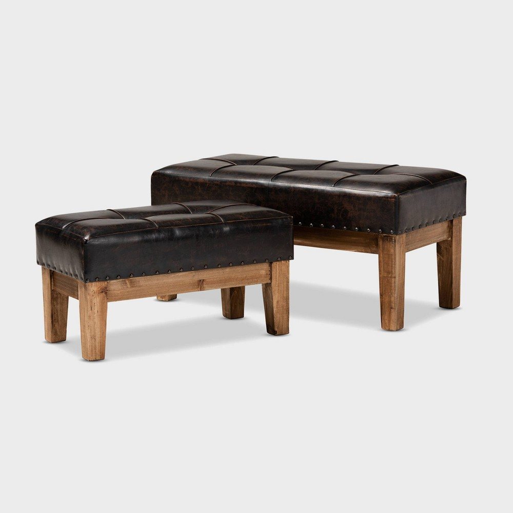 Image of 2pc Lenza Faux Leather Wood Ottoman Set Brown - Baxton Studio