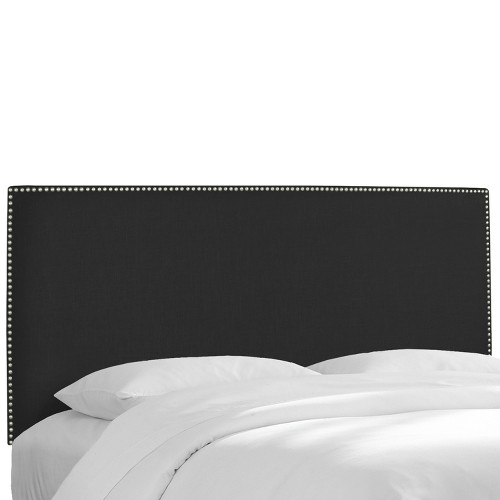 California King Arcadia Nailbutton Headboard Linen Black with Pewter Nail Buttons - Skyline Furniture