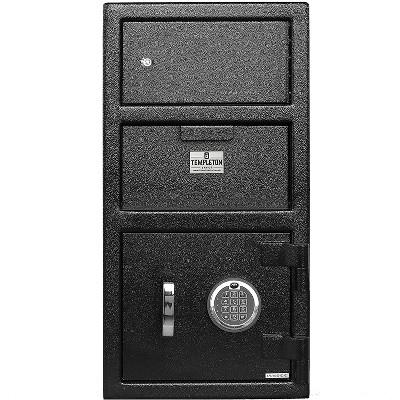 Templeton Safes Standard Depository Drop Safe & Lock Box, Electronic Multi-User Keypad Lock with Key Backup, Anti Fishing Security, 1.5 CBF Black