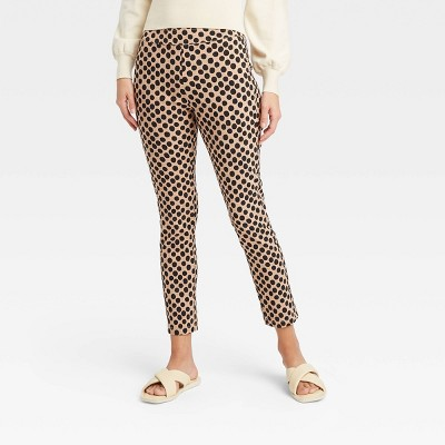 Women's Polka Dot Skinny Cropped Pants - Who What Wear™ Cream