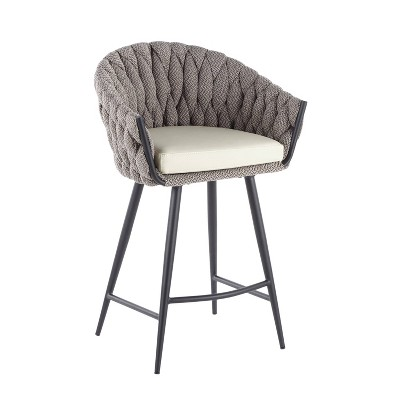 """26"""" Braided Matisse Counter Height Barstool with Faux Leather and Fabric - LumiSource"""