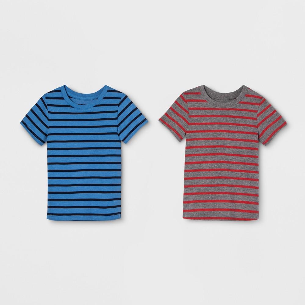 Toddler Boys' 2pk Striped Short Sleeve T-Shirt - Cat & Jack Blue/Gray 18M