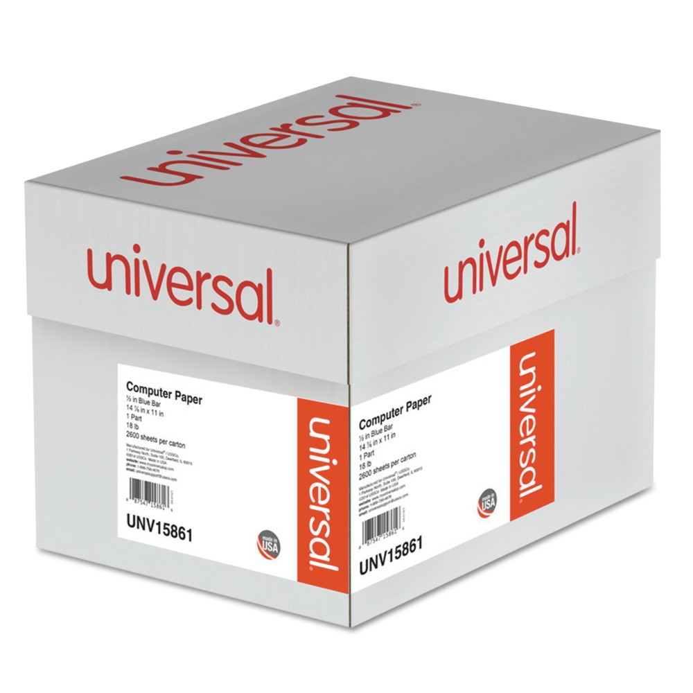 Universal Blue Bar Computer Paper, 18lb, 14-7/8 x 11, Perforated Margins, 2600 Sheets (15861)