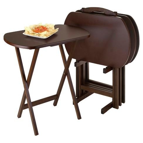 Corbett 4 Piece Oversize Oblong Snack Table Set Antique Walnut Winsome Target