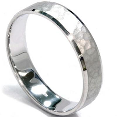Pompeii3 Mens 5mm White Gold Hammered Wedding Band
