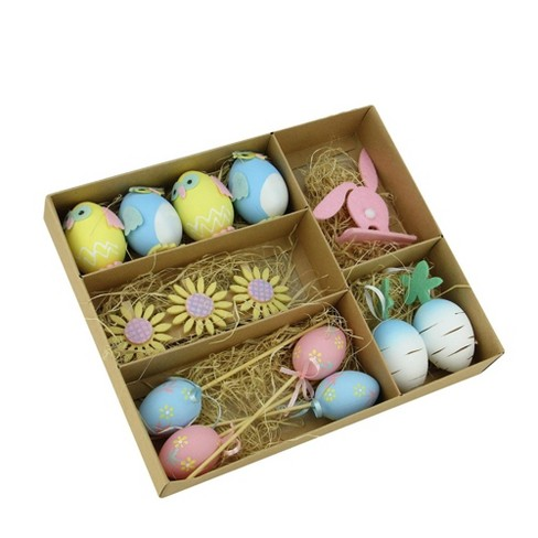 Northlight 14ct Egg Chicken And Bunny Spring Easter Decorations Yellow Blue