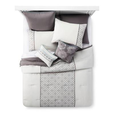 Gray&Neutral Marissa Geometric Multiple Piece Comforter Set (Queen)- 8-pc